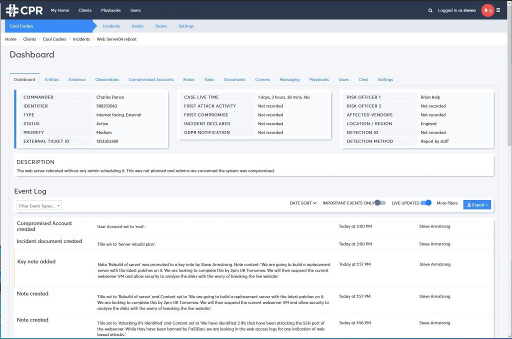 Incident response and case management dashboard